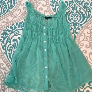 Mint Sheer Top with detailing